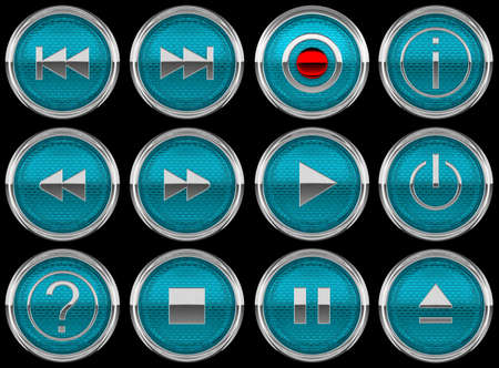 Blue Round Control panel buttons or icons isolated on black photo