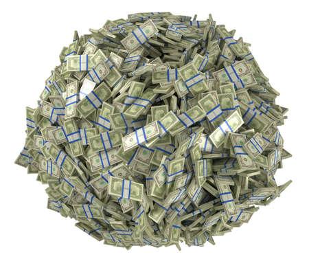us  money: Ball shape assembled of US dollar bundles. Isolated over white