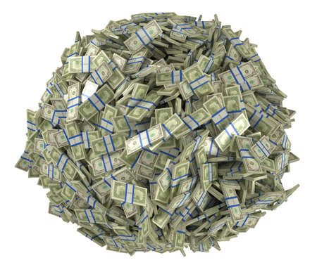 cash: Forma de Ball se reunieron de paquetes de d�lar de los Estados Unidos. Aislado en blanco  Foto de archivo