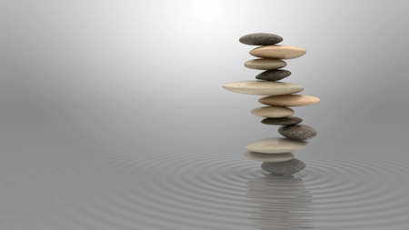 Harmony and balance concept. Pebbles stack on the water over blue sky Stock Photo - 8183375