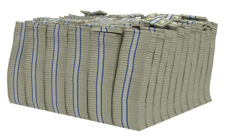 us paper currency: Large bundle of US dollars isolated. Wealth and success. Stock Photo