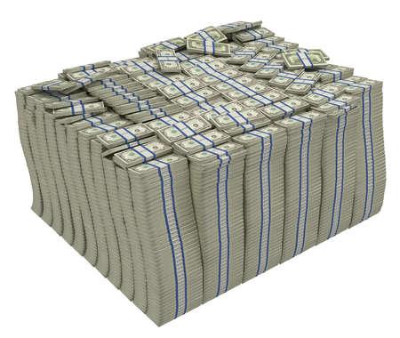 Große Stapel von US-Dollar isoliert. Wohlstand und Erfolg.