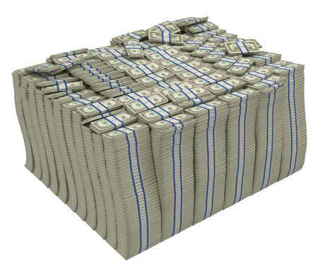 pile of cash: Large stack of american dollars isolated. Wealth and success.