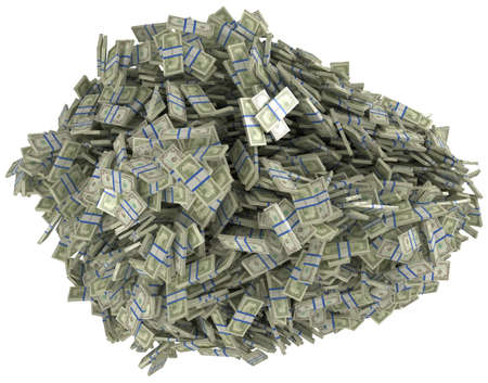 Money and wealth. Heap of US dollar bundles. Isolated over white.  photo