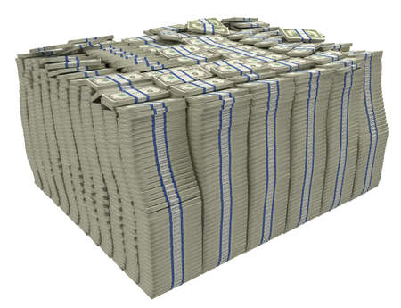 greenbacks: Much money. Large stack of US dollars isolated