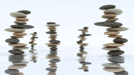 Stability and harmony concept. Pebble stacks on the water surface Stock Photo - 8183390