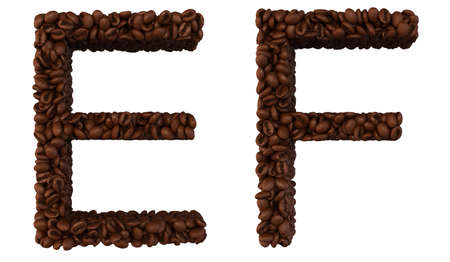 chr: Coffee font E and F letters isolated over white