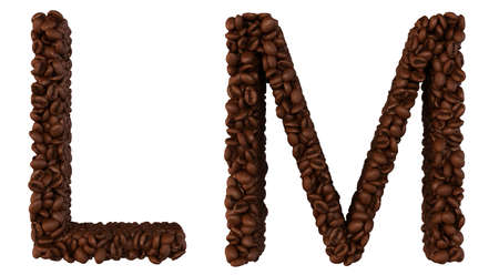 chr: Coffee font L and M letters isolated over white