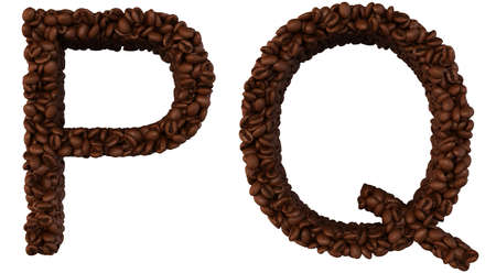 chr: Coffee font P and Q letters isolated over white