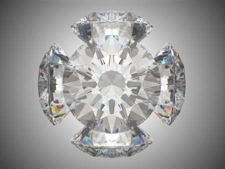 Five brilliant cut diamonds or gems. Over grey background photo