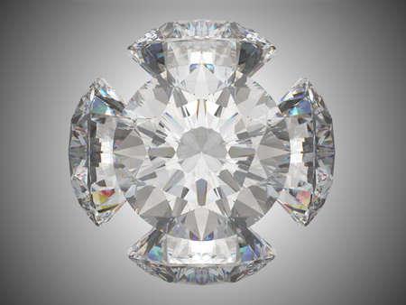 Five brilliant cut diamonds or gems. Over grey background photo