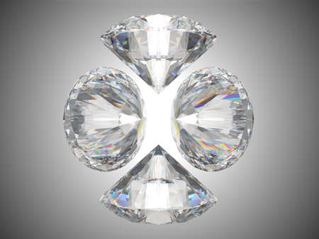Four brilliant cut diamonds or gems. Over grey background Stock Photo - 8183452