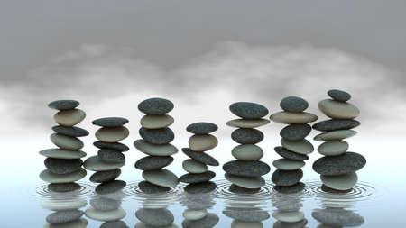 Group of Pebble stacks on water level. Harmony and balance. Stock Photo - 8183512