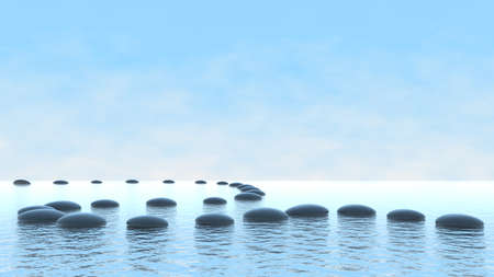 Harmony concept. Pebble path on the water over blue sky Stock Photo - 8183441