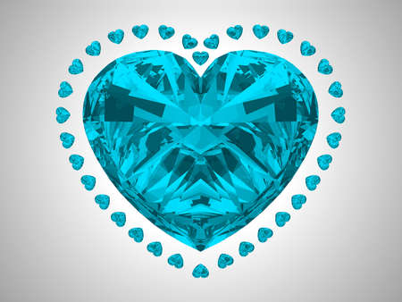 Large blue heart cut diamond with small pear gems photo