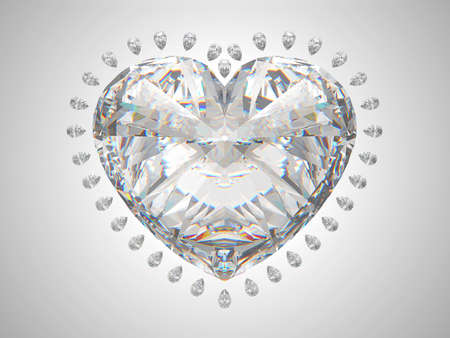 Large heart cut diamond with small pear gems photo