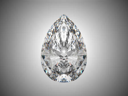 Large pear cut diamond over grey background  photo
