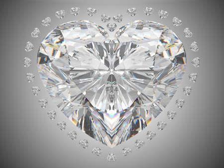 coeur diamant: Amour de luxe - grand coeur coupe diamant sur blanc