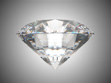 Side view of brilliant cut diamond. Over grey background photo
