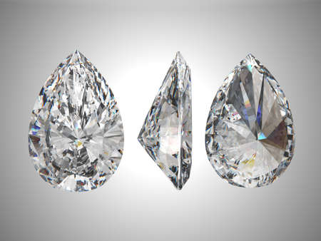 Bottom, Top, and side views of pear diamond. Over grey photo