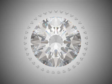 Top view of brilliant cut diamond. Over grey background photo