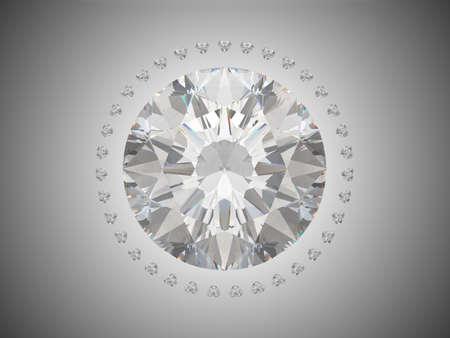 scintillate: Vista superior de diamante de corte brillante. Sobre fondo gris