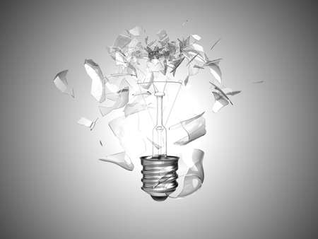 smashed: Bad idea. Crushed lightbulb over grey background