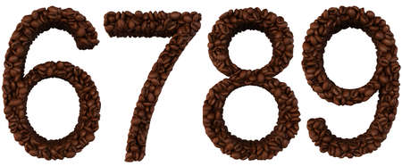 8 9: Coffee font 6 7 8 9 numerals isolated over white Stock Photo