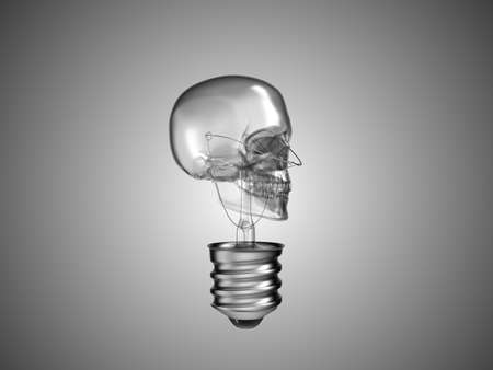 Lightbulb skull - health or death and disease over grey