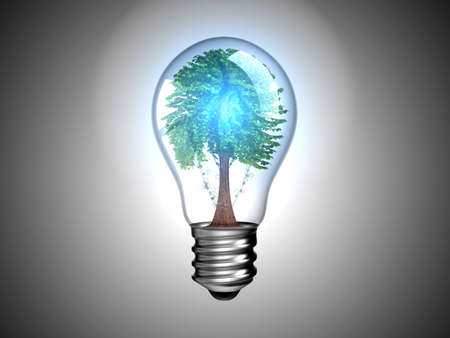 Lightbulb with blue light and tree inside it. Environment and green energy. Over grey Stock Photo - 8220203
