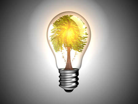 Lightbulb with tree inside it and light. Environment and green energy. Over grey Stock Photo - 8220202