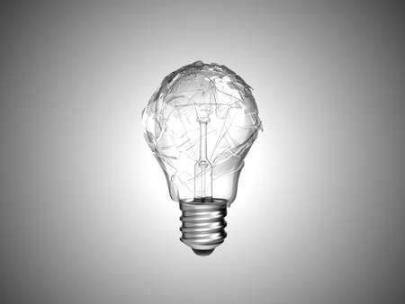 Making mistake. Broken lightbulb over grey background