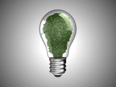 Environment and renewable energy. Lightbulb with green plant inside it. Over grey Stock Photo - 8220201