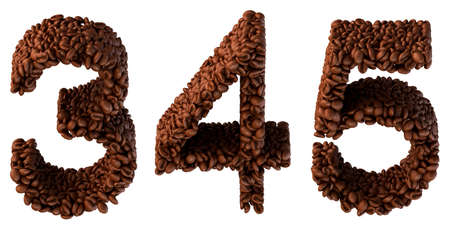 4 5: Roasted Coffee font 3 4 5 numerals isolated over white