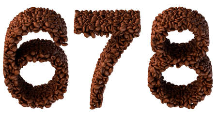6 7: Roasted Coffee font 6 7 8 numerals isolated over white