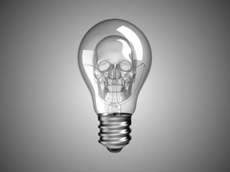 Spooky Skull inside Lightbulb - death and disease. Over grey photo