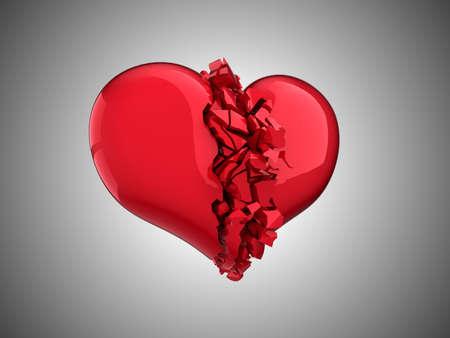 unrequited love: Coraz�n roto - amor no correspondido, la enfermedad, la muerte o el dolor  Foto de archivo