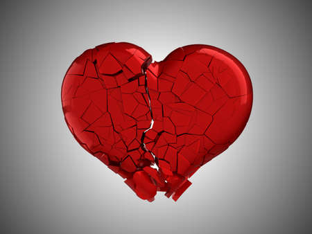 Hurt and pain. Red Broken Heart over grey background photo