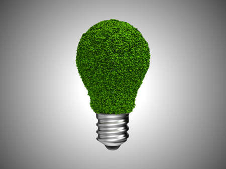 Environment and green energy. Lightbulb with leaves over grey Stock Photo - 8295659