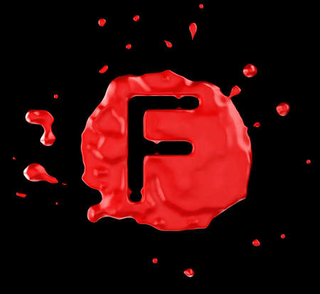 Red blob F letter over black background. Large resolution photo
