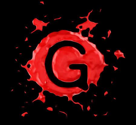 Red blob G letter over black background. Large resolution photo