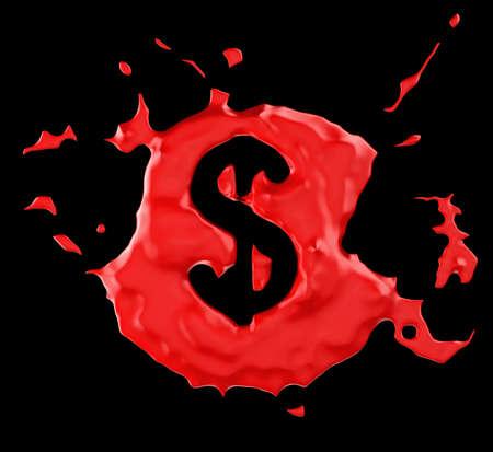 Red blob US dollar symbol over black background. Large resolution photo