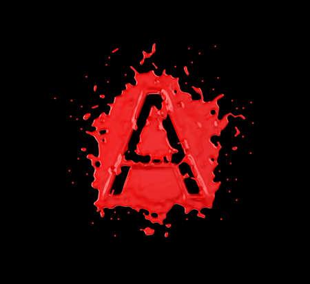 chr: Red blot A letter over black background. Large resolution
