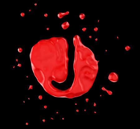Red blot J letter over black background. Large resolution photo