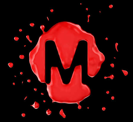 Red blot M letter over black background. Large resolution photo