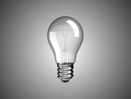 Solution or idea -  lightbulb over grey background Stock Photo
