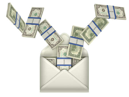 bundle of letters: Earnings and money transfer - US dollars in opened envelope over grey