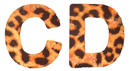 Leopard fur C and D letters isolated over white background photo
