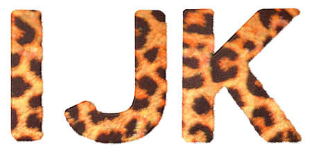 Leopard fur I J and K letters isolated over white background photo