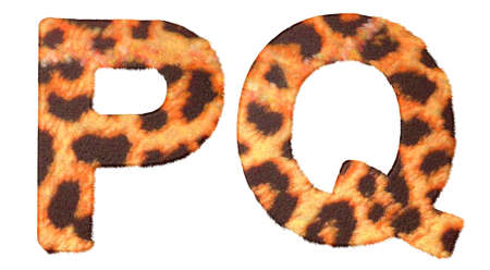 Leopard fur P and Q letters isolated over white background photo